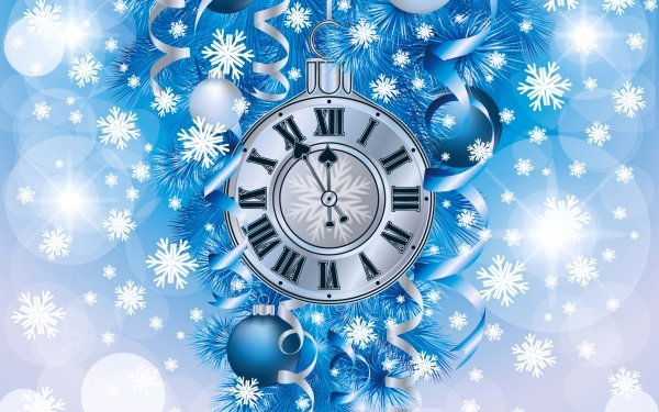 Holiday Christmas Blue New Year Christmas Ornaments Clock HD Wallpaper | Background Image