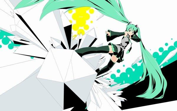 Anime Vocaloid Hatsune Miku Long Hair Green Hair Blue Eyes Crystal Music Pantyhose HD Wallpaper | Background Image