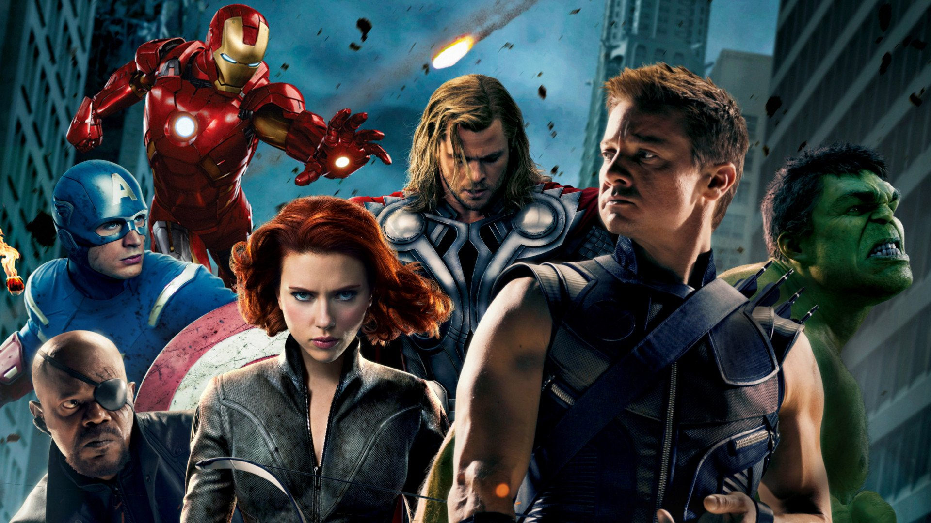 Movie - The Avengers  Jeremy Renner Hawkeye Hulk Iron Man Captain America Thor Chris Hemsworth Black Widow Scarlett Johansson Chris Evans Nick Fury Samuel L. Jackson Marvel Comics Avengers Natasha Romanoff Wallpaper