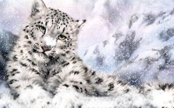 Artistic Painting Snow Leopard Snow HD Wallpaper   Background Image