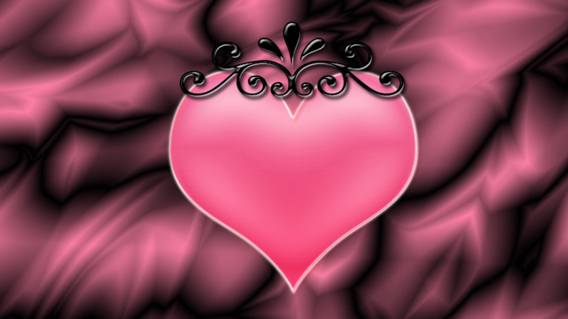 Wallpaper Love Pink Black : Pink crowned Heart Full HD Wallpaper and Background Image 1920x1080 ID:674739