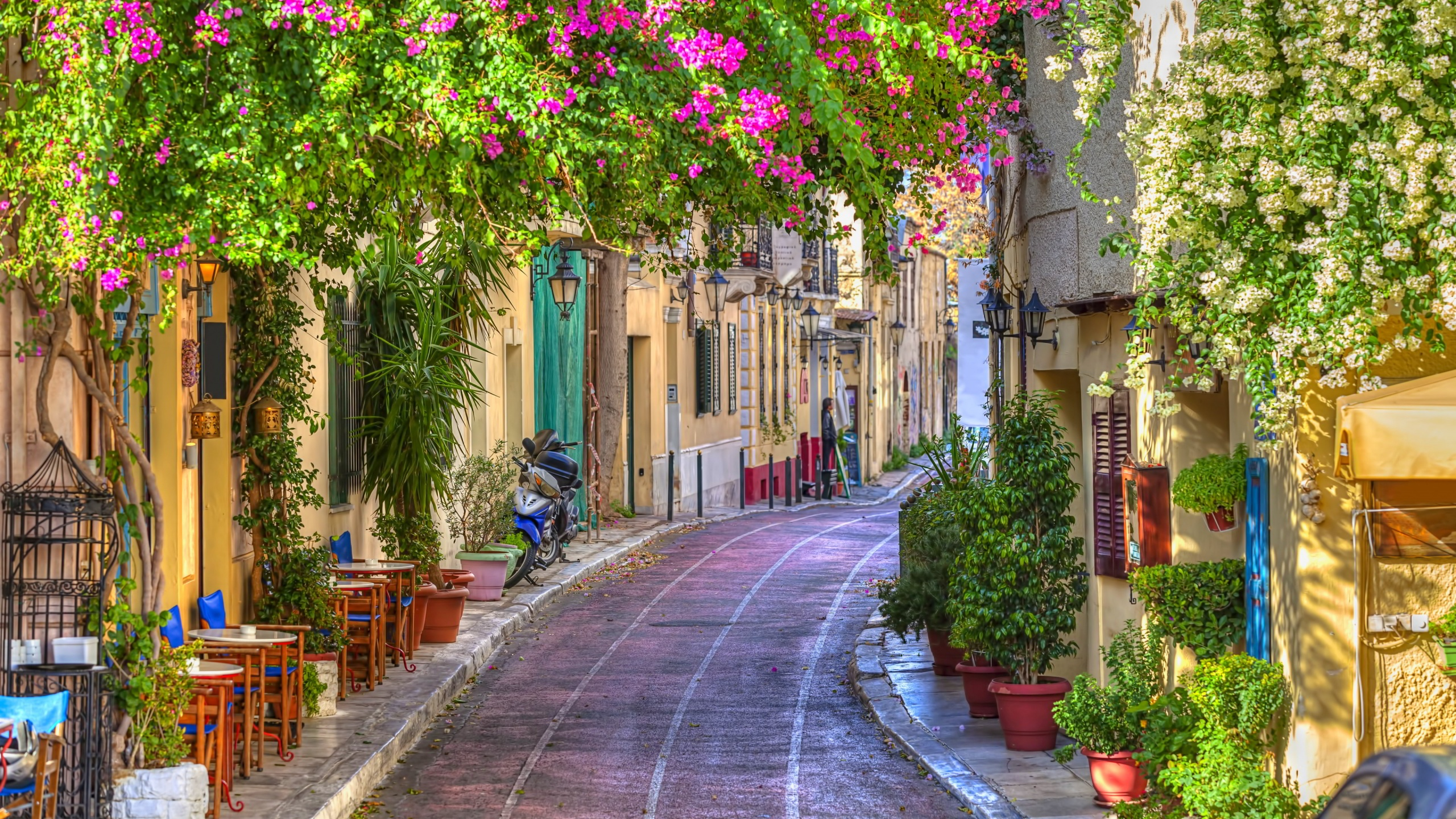 Side Street In Athens Greece Hd Wallpaper Background
