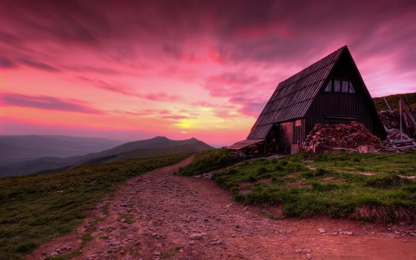 Man Made House Buildings Landscape Sunset Barn Path HD Wallpaper | Background Image