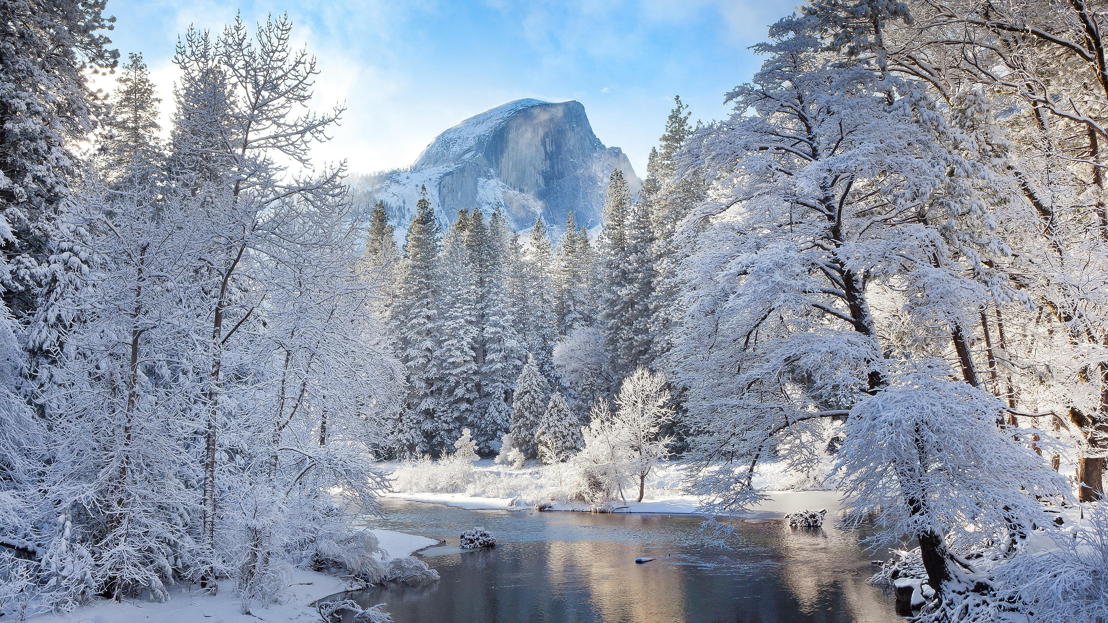 Winter Mountain Landscape 4k Ultra Hd Wallpaper Background
