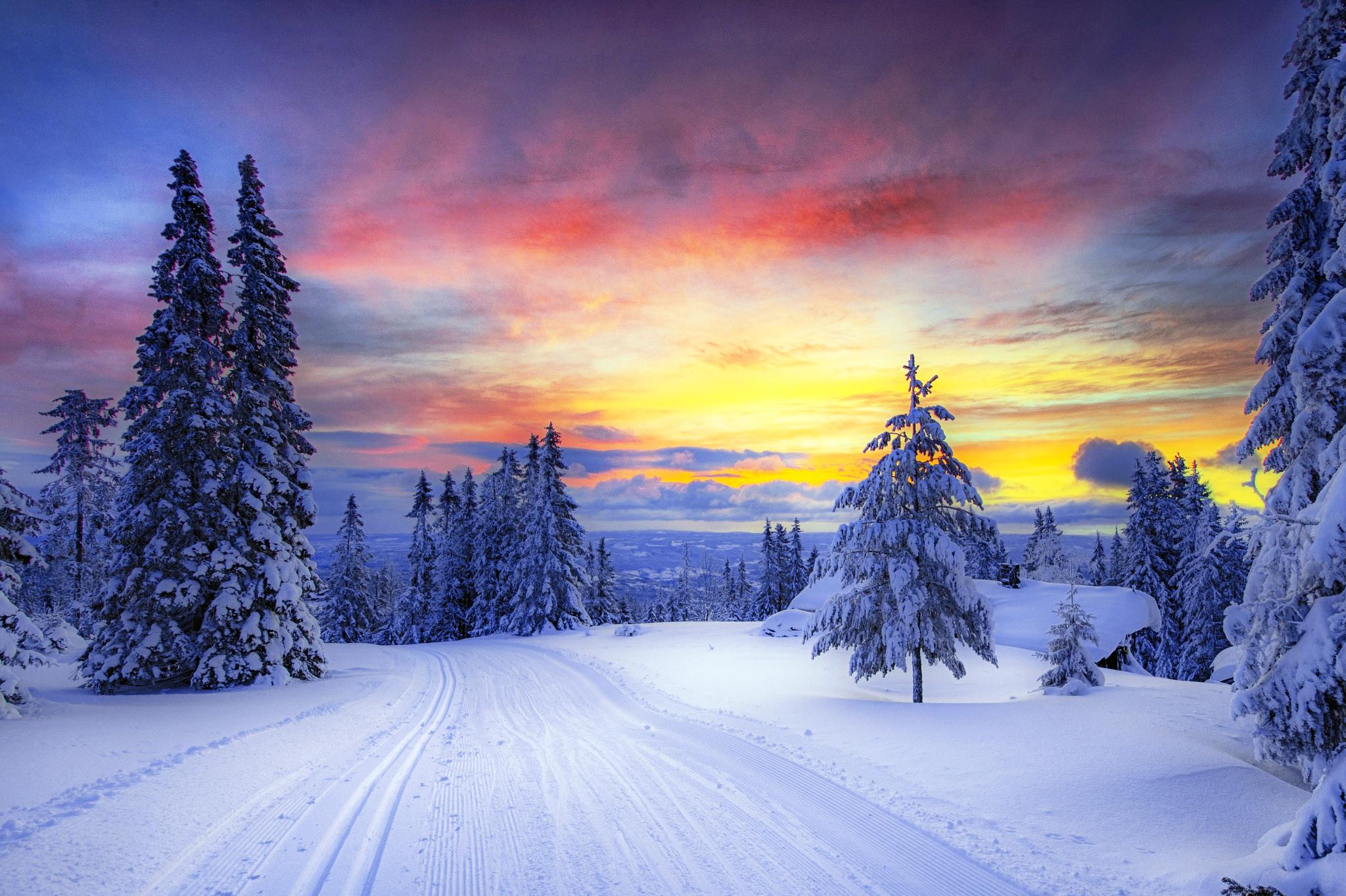 Sunset Over Winter Landscape Hd Wallpaper Background Image 2048x1363