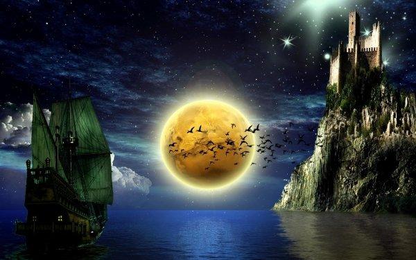 Fantasy Castle Castles Night Ship Sailing Moon Stars Dark HD Wallpaper | Background Image