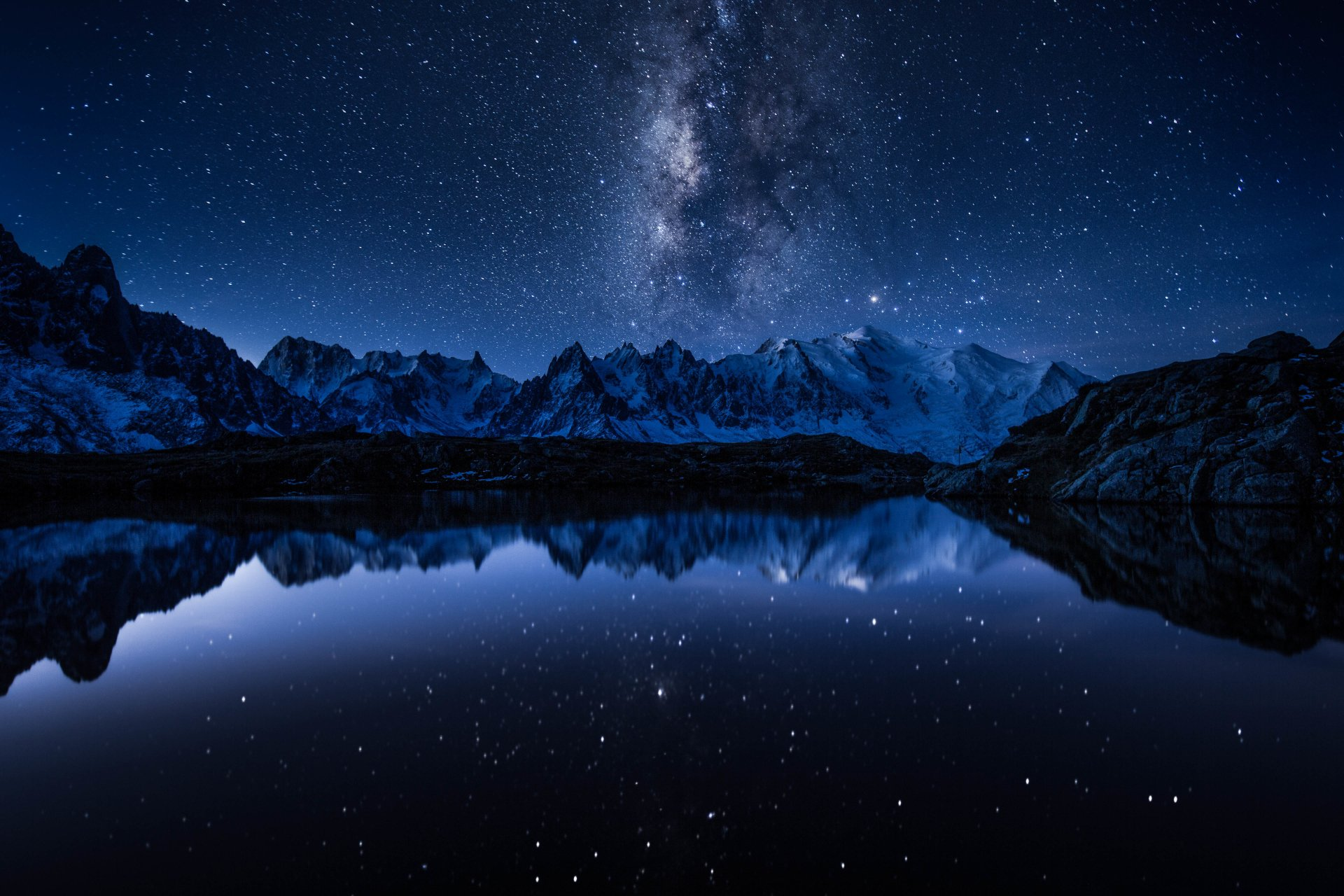 Earth - Reflection  Nature Mountain Sky Night Stars Milky Way Landscape Water Wallpaper