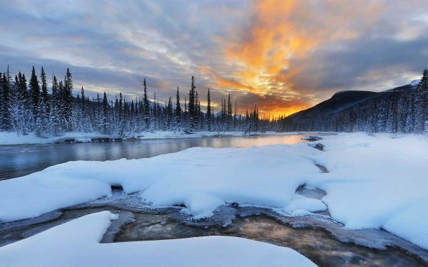 Earth Winter Banff National Park Alberta Canada Snow River Nature Sky Forest Mountain Landscape HD Wallpaper | Background Image