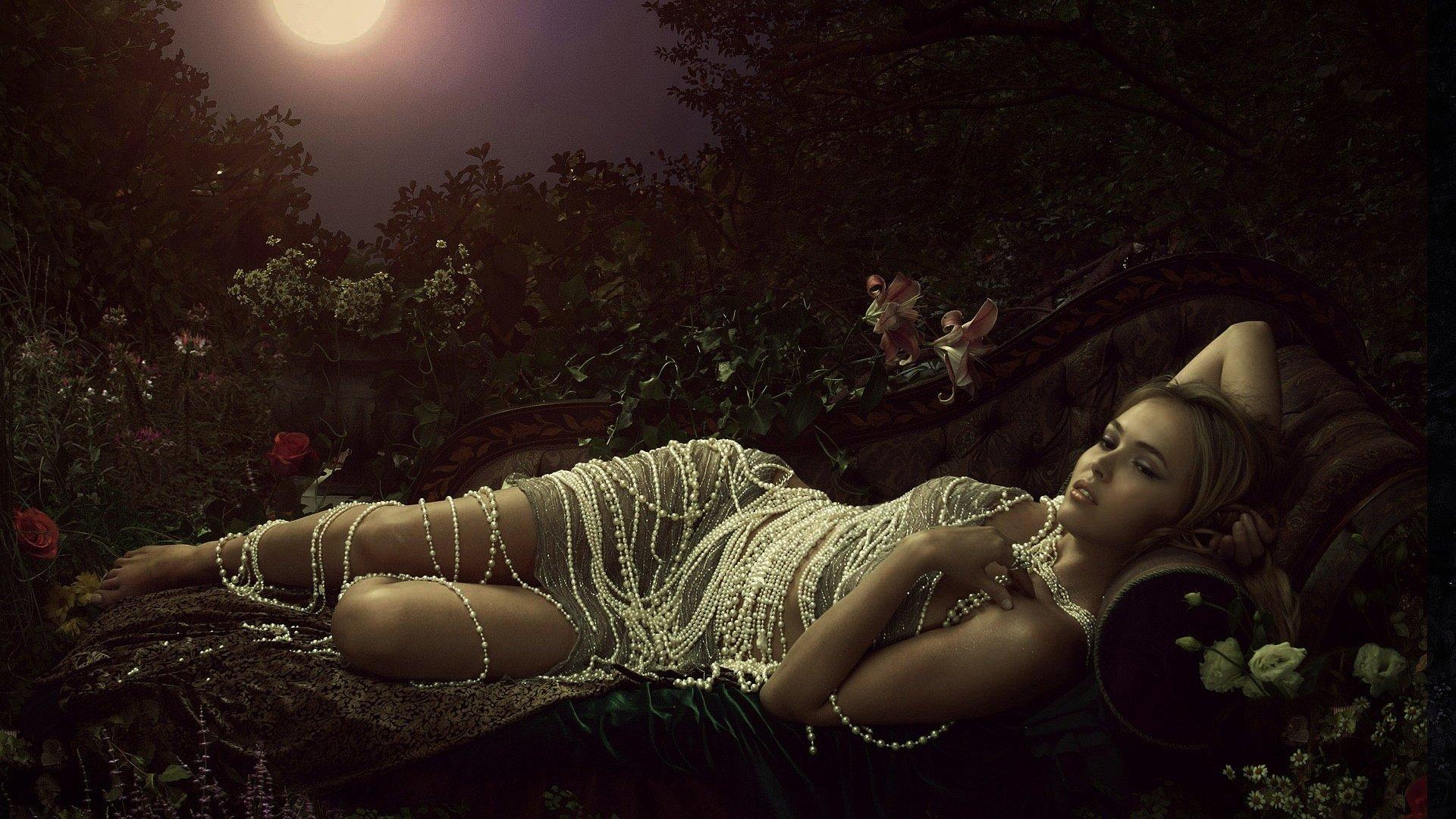 Fantasy - Women  Flower Pearl Woman Fantasy Lying Down Wallpaper