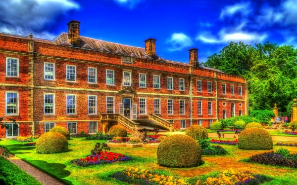 Photography HDR Man Made Building Erddig Hall Wales Bush Flower Colorful Garden HD Wallpaper   Background Image
