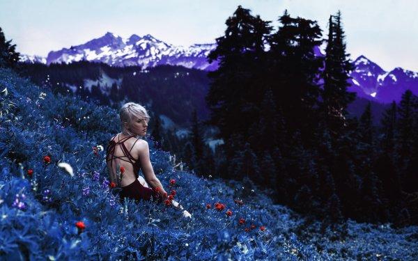Women Mood Woman Landscape Rear Flower Blonde HD Wallpaper | Background Image