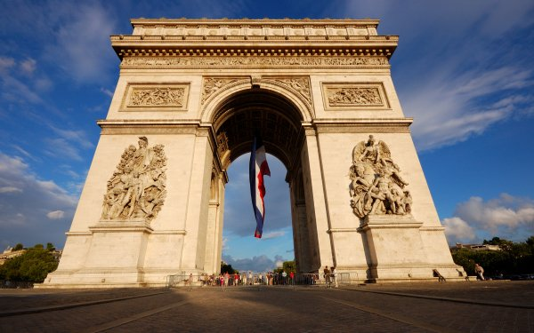 Man Made Arc De Triomphe Monuments Paris France Monument Flag Of France HD Wallpaper   Background Image
