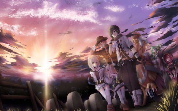 Anime Original Fantasy Sunset Bird Sunbeam Cemetery HD Wallpaper | Background Image