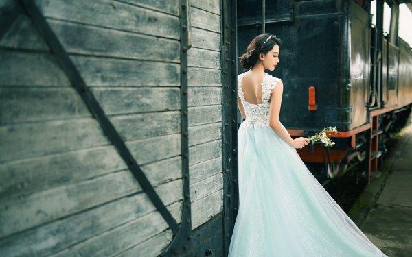 Women Bride Woman Wedding Dress Train Rear Flower Brunette HD Wallpaper | Background Image
