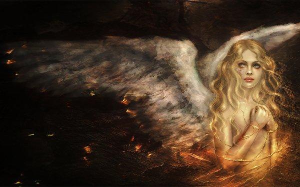 Fantasy Angel Golden Blonde Wings White HD Wallpaper | Background Image