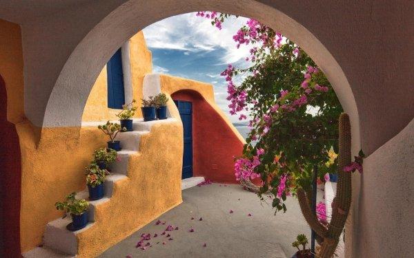 Man Made House Buildings Arch Architecture Santorini Greece Door Bush Plant Pink Flower HD Wallpaper   Background Image