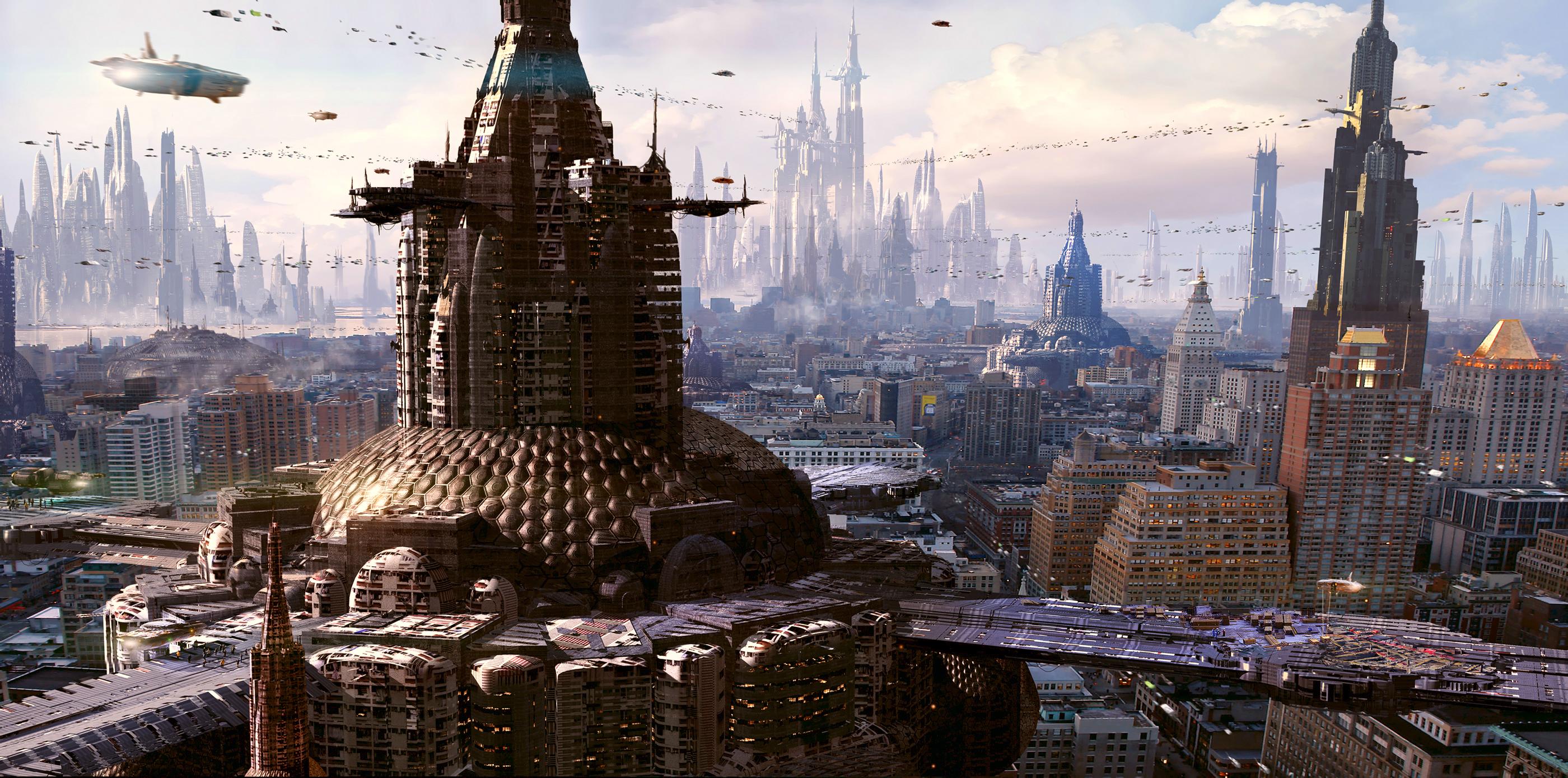 Building City Cityscape Futuristic HD Wallpaper