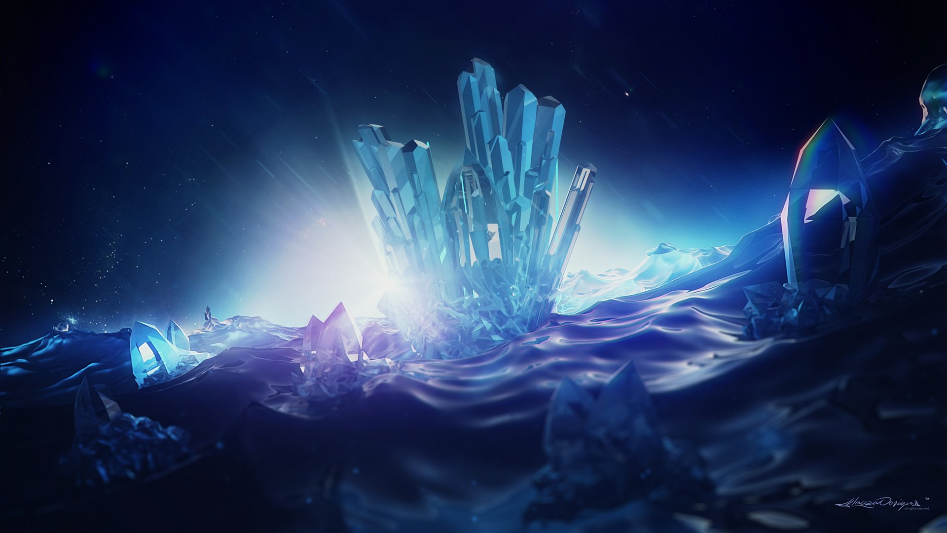 Artistic - Crystal  3D Blue Digital Art Wallpaper