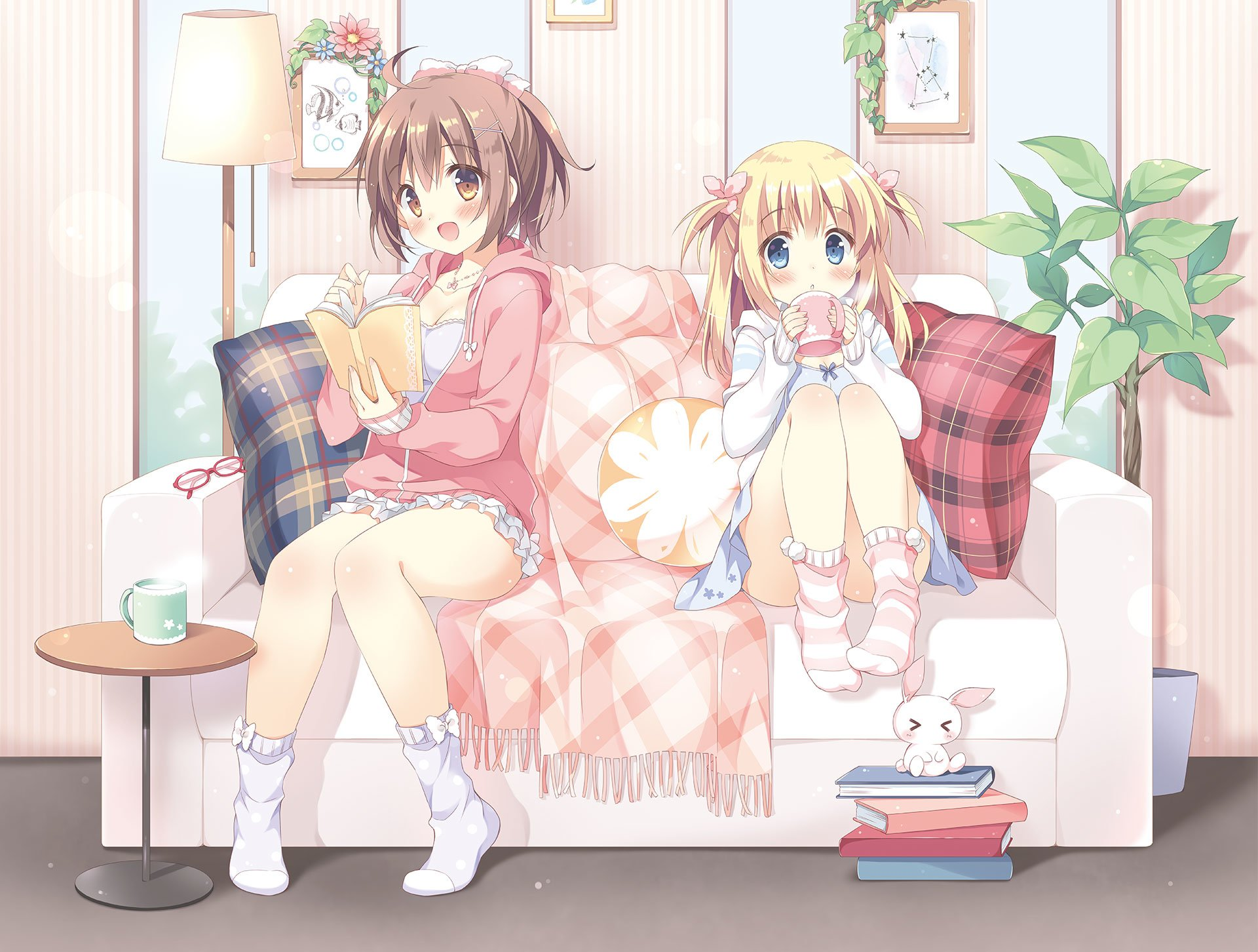 Anime - Original  Girl Short Hair Blonde Socks Glasses Cup Blue Eyes Blush Brown Hair Couch Book Stuffed Animal Table Dress Wallpaper