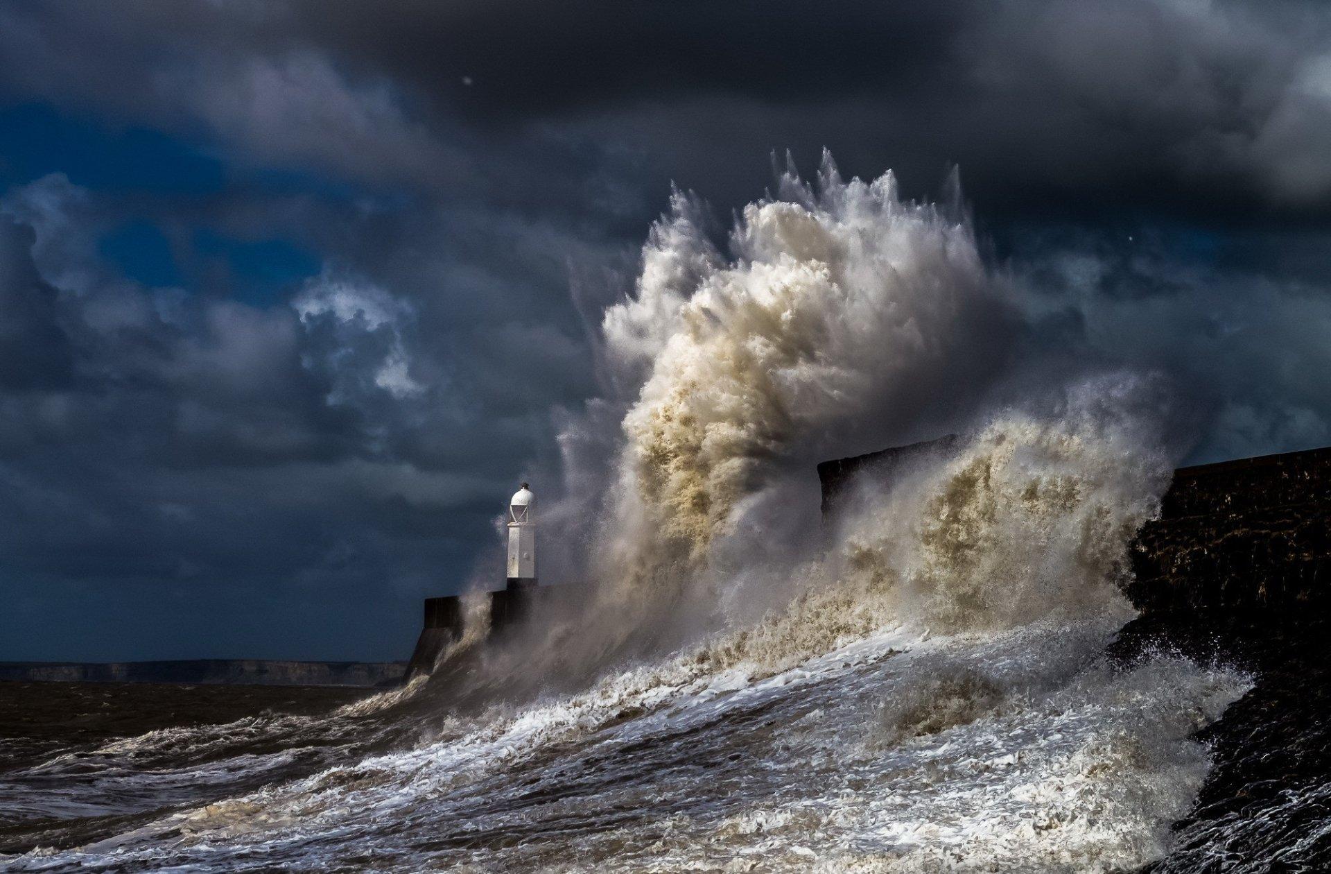 Man Made - Lighthouse  Man Made Ocean Storm Wave Cloud Gray Wallpaper