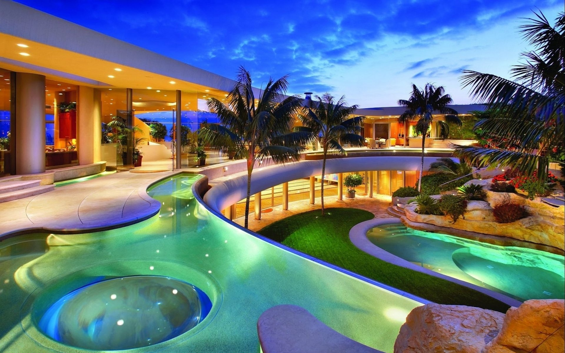 Man Made - Resort  Building House Pool Man Made Beach Tropical Luxury Palm Tree Wallpaper