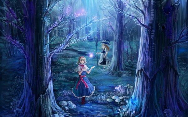 Anime Touhou Marisa Kirisame Alice Margatroid Night Forest Broom Blonde Short Hair Red Eyes HD Wallpaper | Background Image