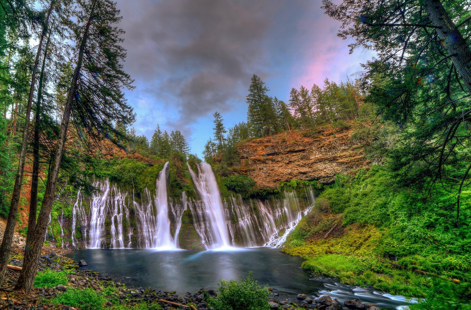 Burney falls in california hd wallpaper background image - Waterfalls desktop wallpaper forest falls ...