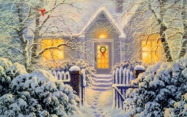 Artistic House Snow Tree Christmas Winter HD Wallpaper | Background Image