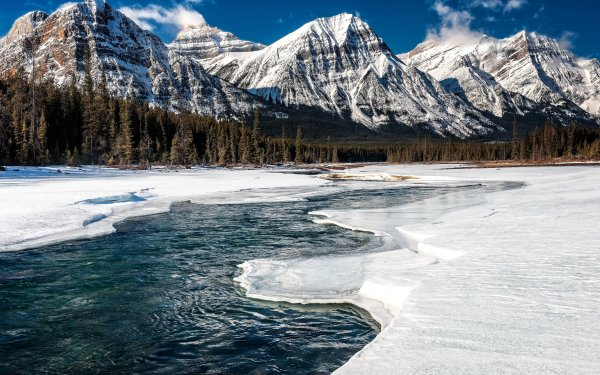 Earth Mountain Mountains Alberta Forest Winter River Snow Ice Canada Nature Landscape HD Wallpaper | Background Image
