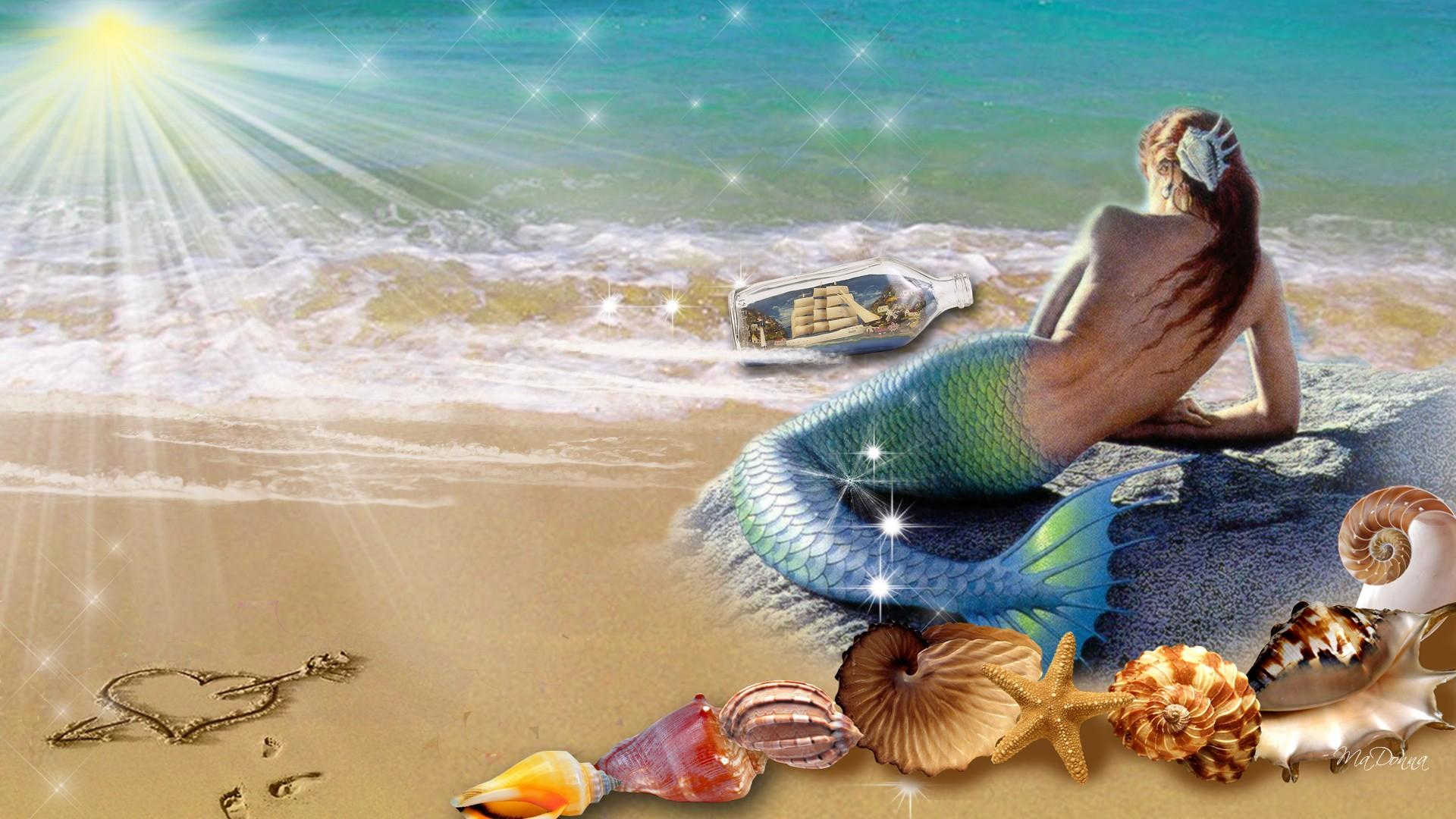 Permalink to Mermaid On The Beach Wallpaper