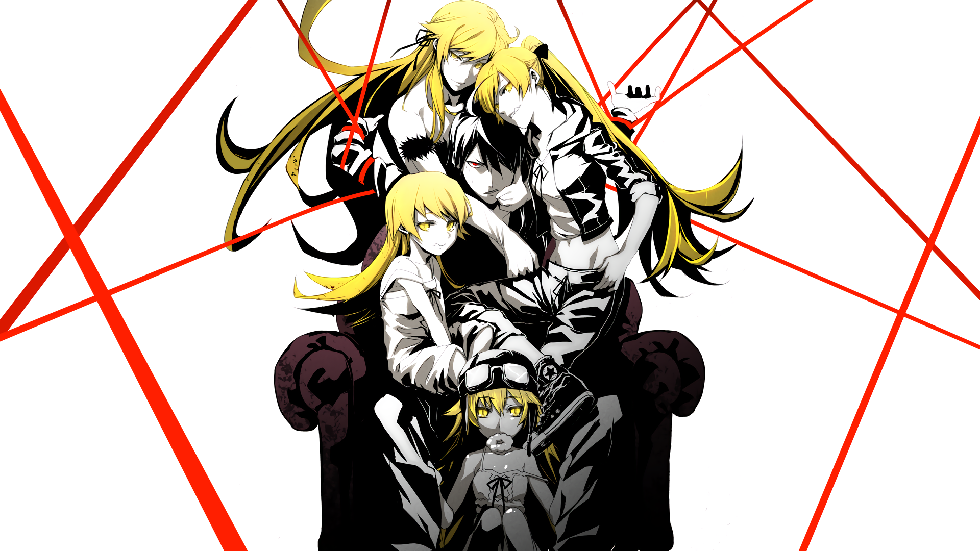 Anime - Monogatari (Series)  Kiss-shot Acerola-orion Heart-under-blade Shinobu Oshino Koyomi Araragi Wallpaper