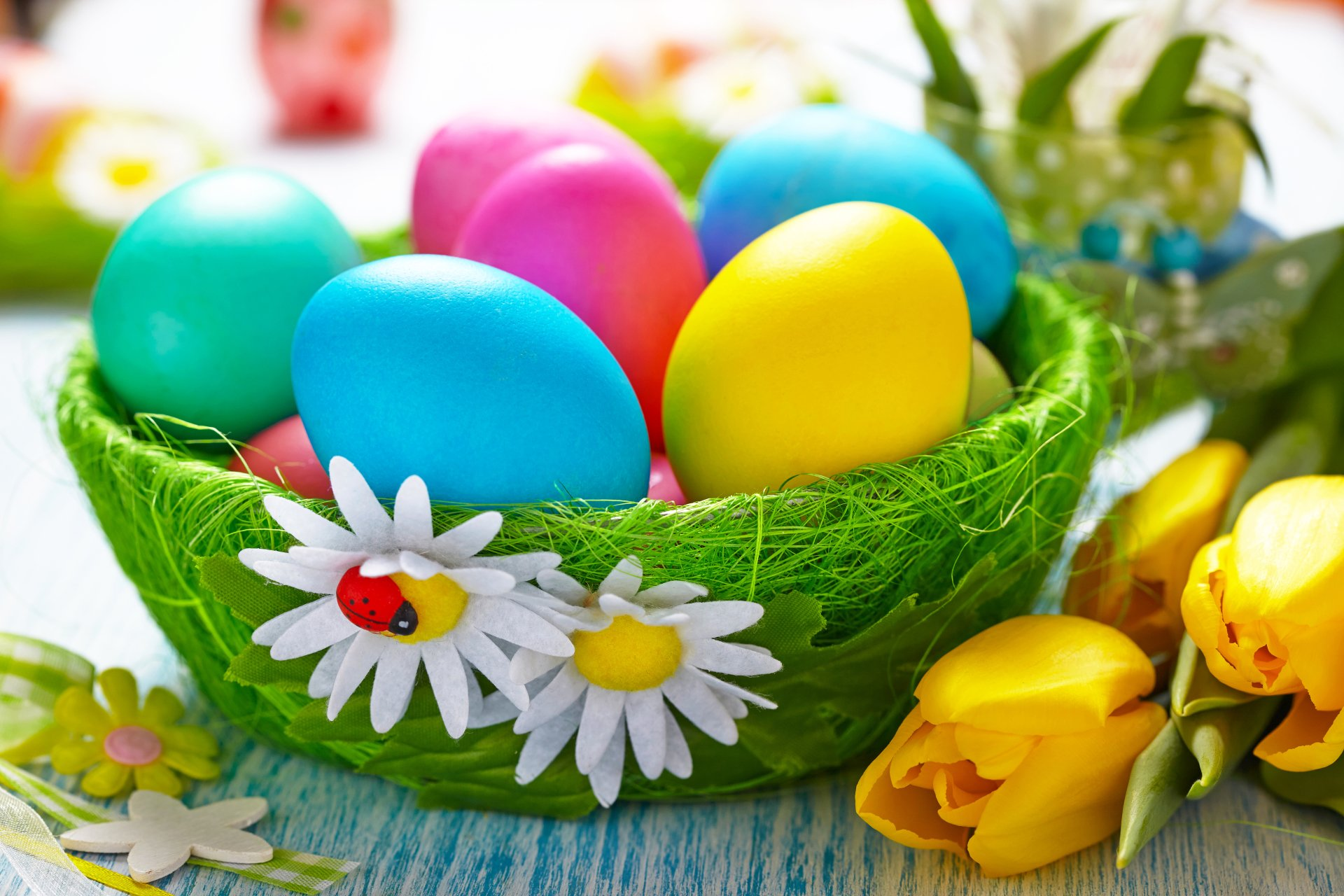 Holiday - Easter  Holiday Easter Egg Egg Colors Colorful Flower Tulip Wallpaper