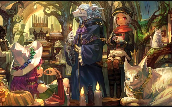 Anime Original Cup Cat Girl White Hair Cake Room HD Wallpaper | Background Image