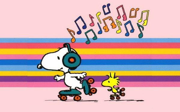 Comics Peanuts Cartoon Snoopy Woodstock Music Roller skating HD Wallpaper   Background Image
