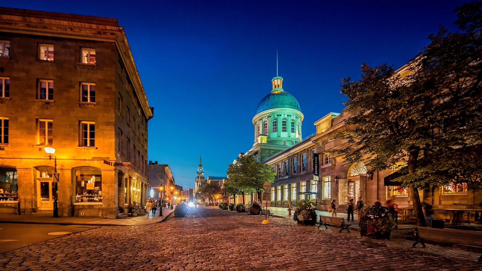 Man Made - Montreal  Man Made Canada City Night Building Street Wallpaper
