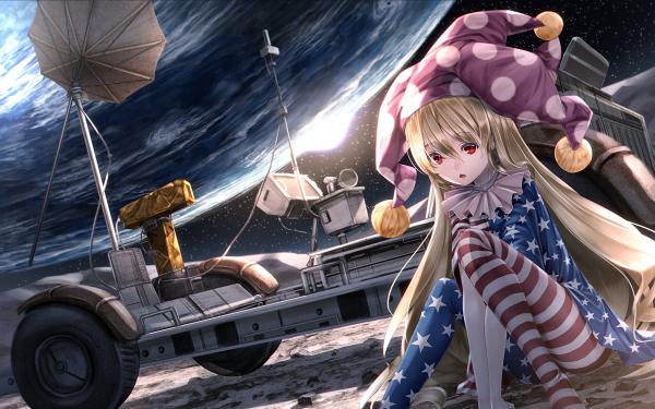 Anime Touhou Clown Clownpiece Moon Earth Space HD Wallpaper | Background Image