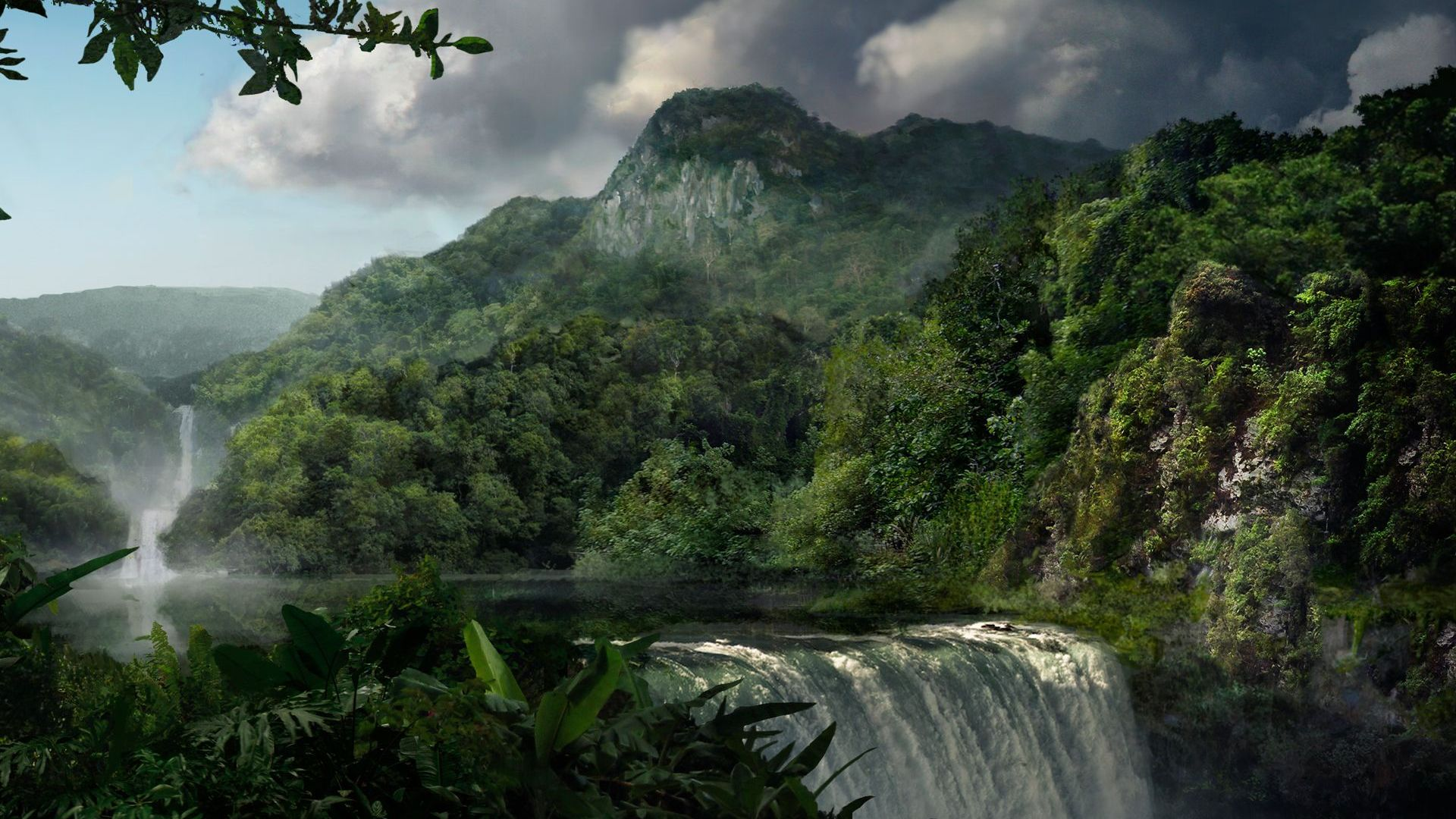 Waterfall In Rainforest HD Wallpaper