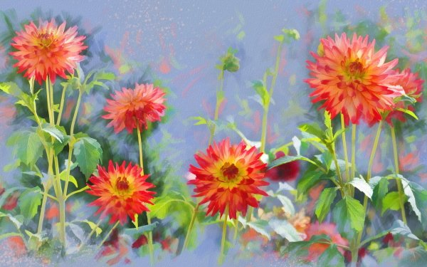 Artistic Flower Flowers Dahlia Painting HD Wallpaper | Background Image