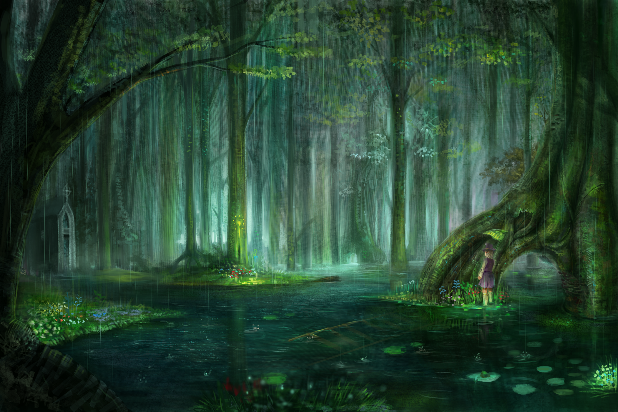 Fantasy Forest Hd Wallpaper Background Image 2100x1400
