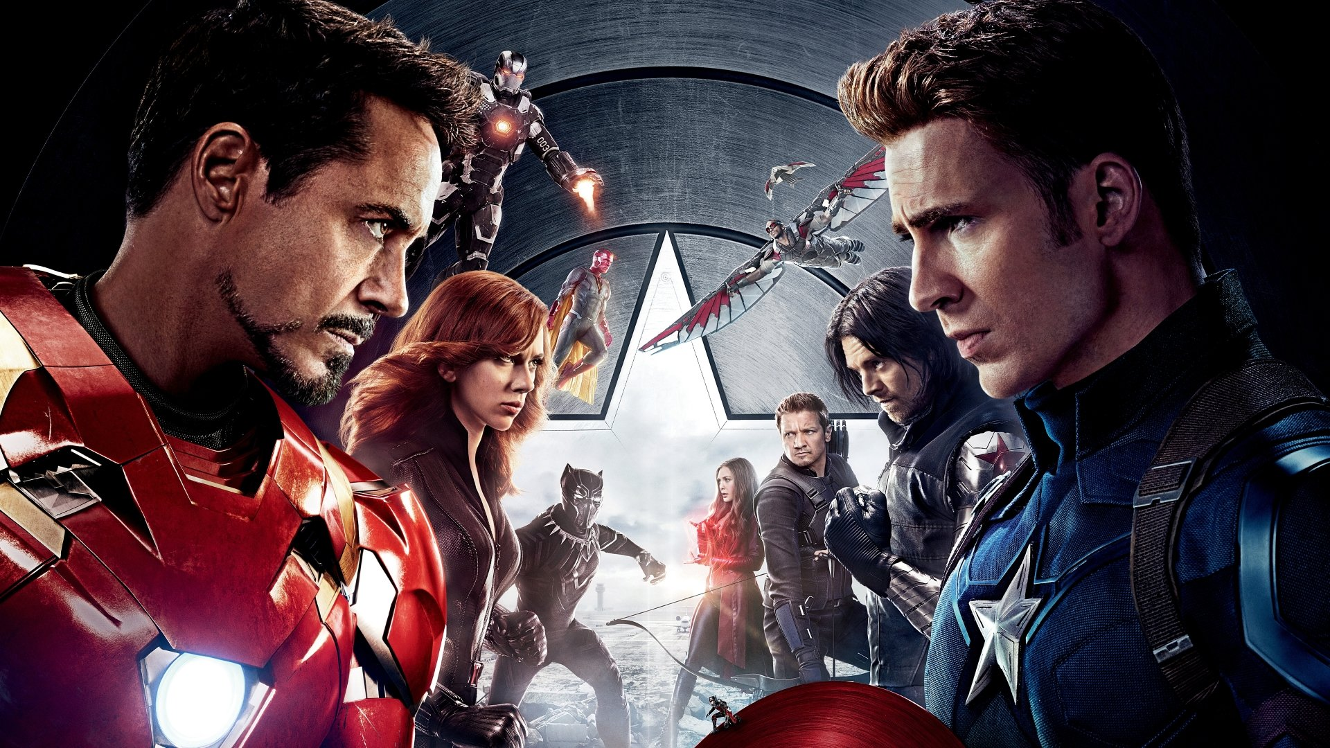 Filmy - Kapitan Ameryka: Wojna Bohaterów  Hawkeye Jeremy Renner Robert Downey Jr. Iron Man Chris Evans Kapitan Ameryka Scarlett Johansson Black Widow Winter Soldier Sebastian Stan Black Panther (Marvel Comics) Chadwick Boseman Paul Rudd Ant-Man Elizabeth Olsen Scarlet Witch War Machine Don Cheadle Vision (Marvel Comics) Paul Bettany Falcon (Marvel Comics) Anthony Mackie Tapeta