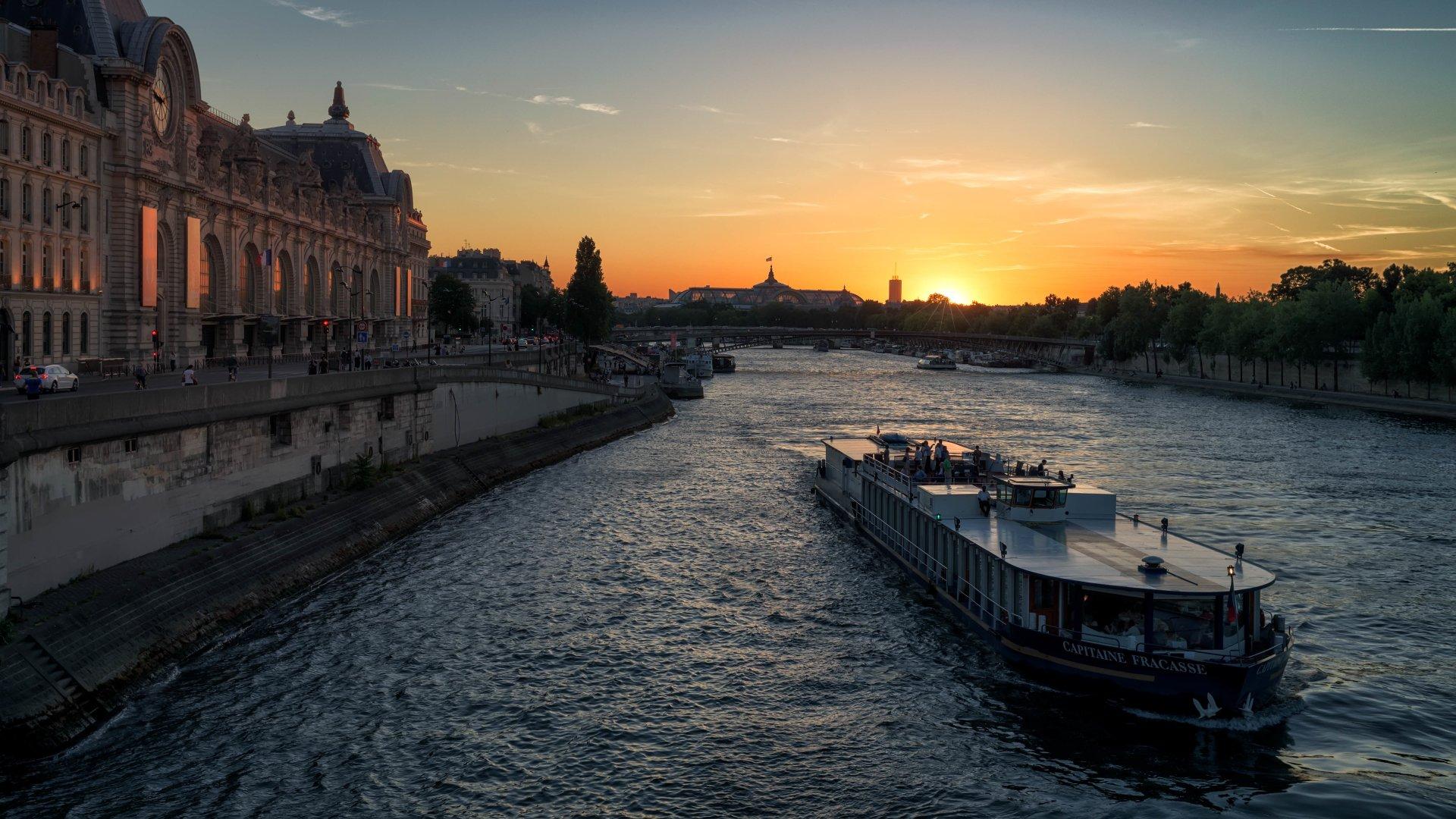 Man Made - Paris  River France Sunset Evening Boat Ship Seine Passenger Ship Wallpaper