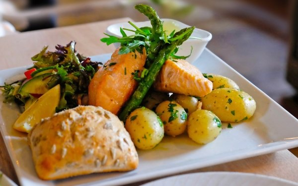 Food Meal Salmon Salad Potato HD Wallpaper | Background Image