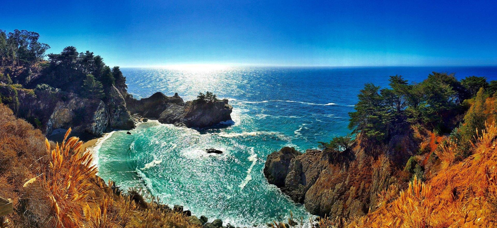 Earth - Big Sur  Earth Coast Coastline Ocean McWay Falls Rock Cliff Horizon Wallpaper