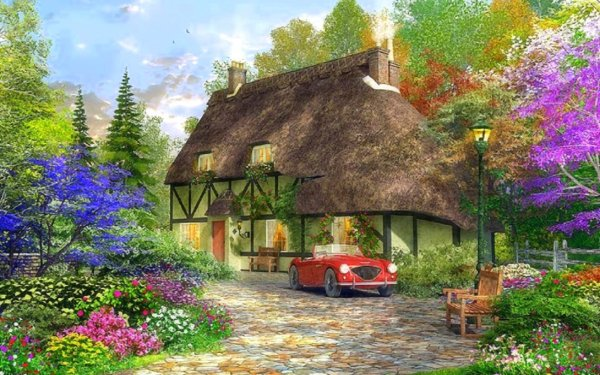 Artistic House Painting Cottage Spring Flower Car Tree HD Wallpaper | Background Image