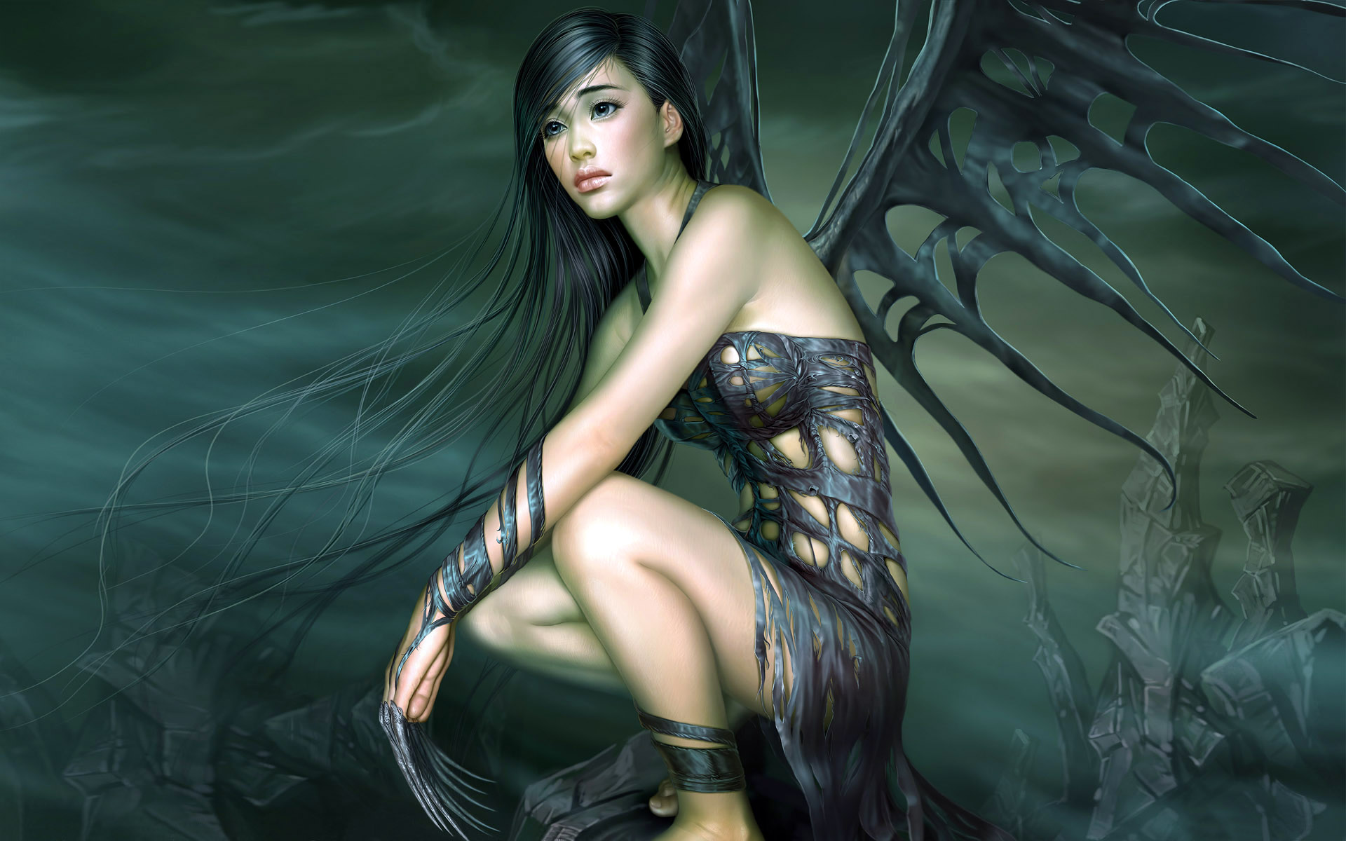 Fantasy - Angel  - Dark - Completely By Far My Favorite Awesome Artwork!!! - Woman - Demon - Fantasy - Black Wing - Deamon - Winged - Black Wallpaper