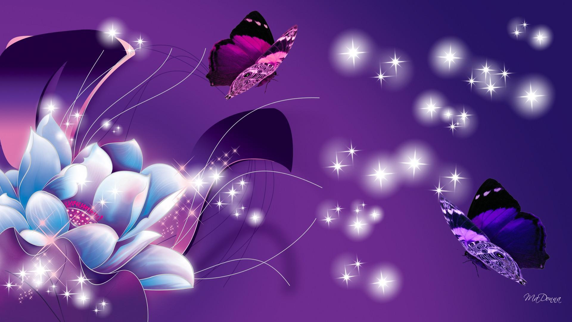 blue and purple flower and butterflies hd wallpaper | background