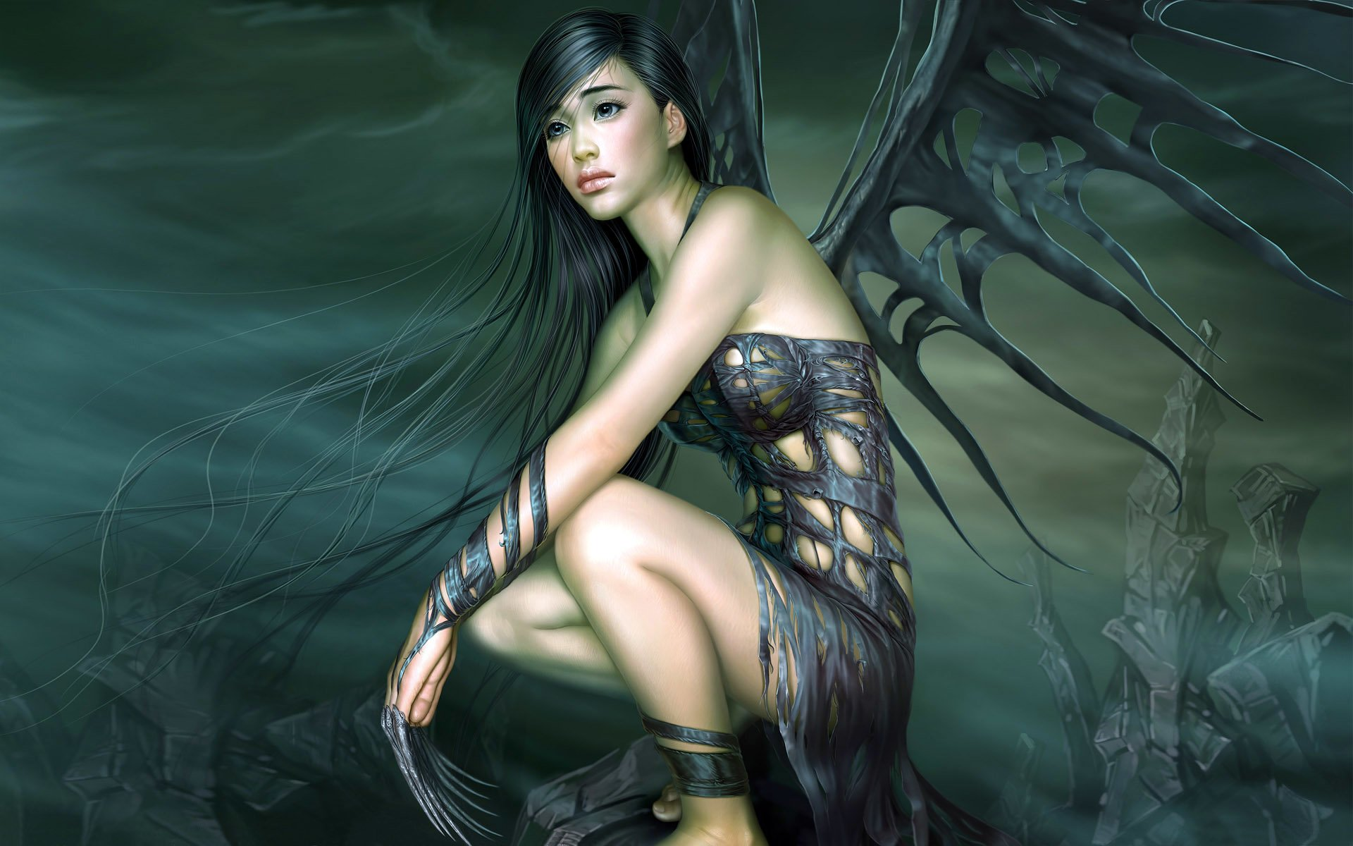 Fantasy - Angel  Dark Woman Fantasy Wings Wallpaper