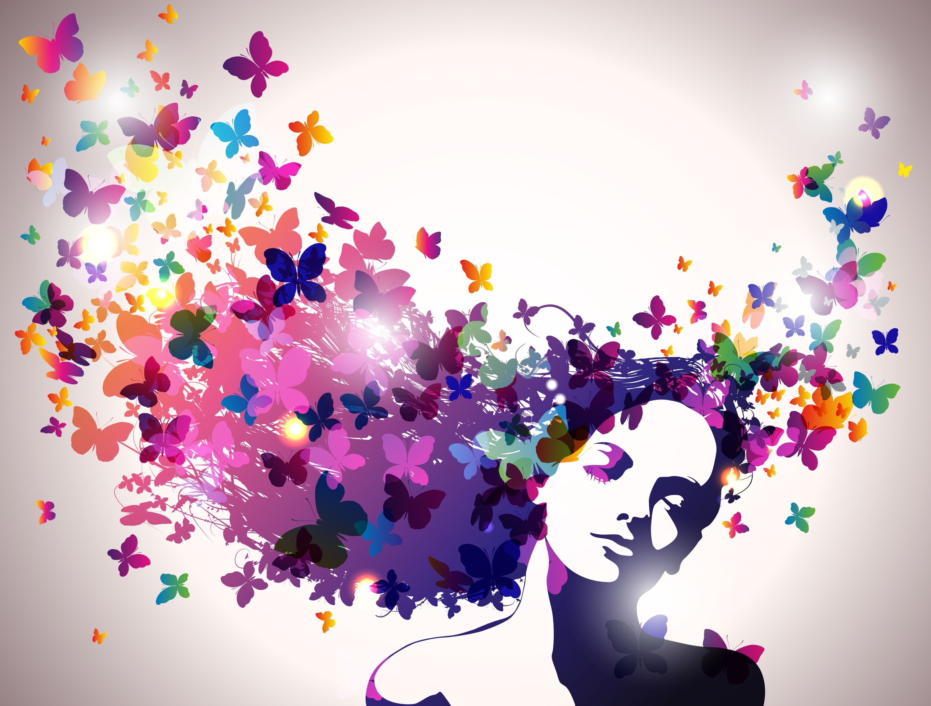 girl with butterfly hair hd wallpaper and background