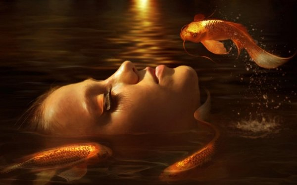 Fantasy Women Woman Girl Water Goldfish HD Wallpaper   Background Image