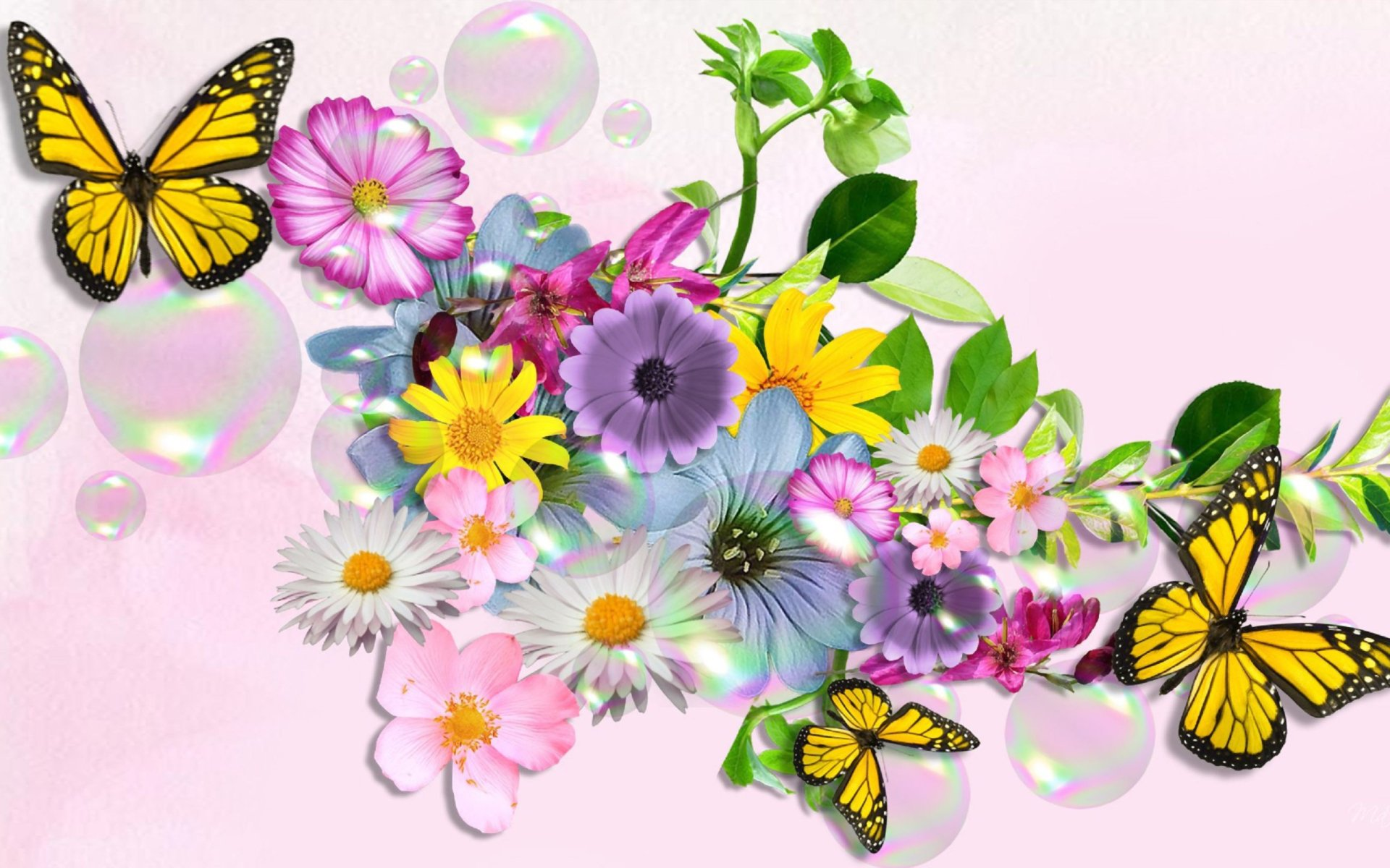 Artistic - Flower  Artistic Colorful Colors Butterfly Wallpaper